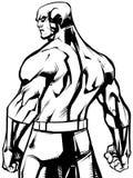 Superhero Back Battle Mode No Cape Line Art Stock Photos