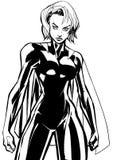 Superheroine Battle Mode No Mask Line Art. Line art illustration of powerful superheroine ready for battle Royalty Free Stock Photography