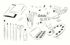Line art illustration set of artists supplies. Vector black and white line art illustration set of artists supplies Royalty Free Stock Image