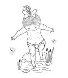 Line art illustration  of a small   girl  on a stone takes a step into the water. Black and white Stock Photo