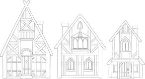 Line art with isolated european medieval houses royalty free stock photos