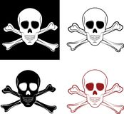Skull. Line art and isolated illustration of skull and crossbones Royalty Free Stock Photography