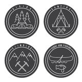 Line art labels canoe,camping,climbing and hiking Stock Images