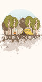 Line art landscape with trees, camp fire and tent decorated with grange splashes. Inscription: `Life is a journey Royalty Free Stock Images