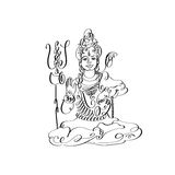 Line art Lord Shiva black and white calligraphic drawing Royalty Free Stock Images
