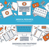 Line art.Medical flat background. Health care,first aid,research, cardiology. Medicine,study. Chemical engineering Stock Photo