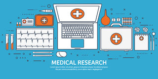 Line art.Medical flat background. Health care,first aid,research, cardiology. Medicine,study. Chemical engineering Royalty Free Stock Images