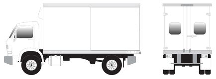 Line art - mini truck. Line art illustrration of side view of mini truck Royalty Free Stock Photo