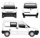 Line art - mini van. Line art illustrration of side view of mini van Royalty Free Stock Photography