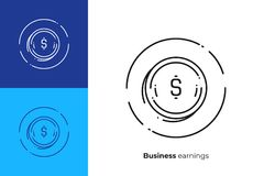 Coin with dollar sign line art vector icon. Line art money. Fast money. Scalable vector icon in modern outline style. Lineart elements vector illustration Royalty Free Stock Images