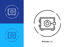 Safe deposit cell line art vector icon. Line art money safe. Finance safety. Scalable vector icon in modern outline style. Lineart elements vector illustration Royalty Free Stock Photos