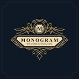 Line art Monogram luxury design, graceful template. Calligraphic elegant beautiful logo. Letter emblem sign M for Royalty,  Royalty Free Stock Image
