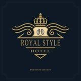 Line art Monogram luxury design, graceful template. Calligraphic elegant beautiful logo. Royal style. Letter emblem sign H for Roy. Vector illustration of Line royalty free illustration