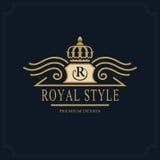 Line art Monogram luxury design, graceful template. Calligraphic elegant beautiful logo. Royal style. Letter emblem sign R for Roy. Vector illustration of Line stock illustration
