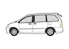 Line art - MPV. Line art illustration of the side view of a MPV royalty free illustration