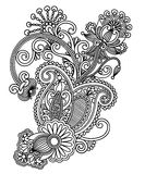 Line art ornate flower design Stock Photo