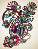 Line art ornate flower design Royalty Free Stock Photos