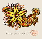 Line art ornate flower design Royalty Free Stock Photography
