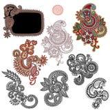 Line art ornate flower design collection, Stock Image
