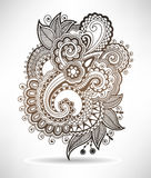 Line art ornate flower design, ukrainian ethnic Stock Photos