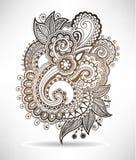 Line art ornate flower design, ukrainian ethnic Stock Photos