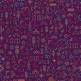 Line art outline seamless pattern color elements Royalty Free Stock Images