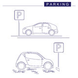 Line art. Parking design on a white background. Parking sign. Cars. Line art. Parking design. Two cars on a white background. Parking sign Royalty Free Stock Photos