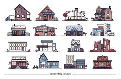 Line art residential house collection. Set of flat style. Colorful vector illustration. Line art residential house collection. Colorful vector illustration. Set Stock Image