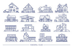 Line art residential house collection. Set of flat style. Contour vector illustration. Royalty Free Stock Images