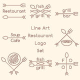 Line art restaurant logo set Stock Photography