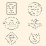 Line art restaurant logos Royalty Free Stock Photos