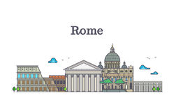 Line art rome architecture, italy buildings vector illustration Royalty Free Stock Photos