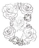 Line art roses in figure eight - eight from roses. Decor element for greeting card Royalty Free Stock Photos