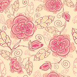 Line art roses seamless pattern background Royalty Free Stock Photography