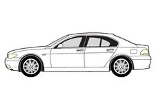 Line art - saloon car Stock Photography