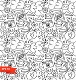 Line art seamless pattern. Vector doodle background with letters, hearts and other cute details.  Stock Images