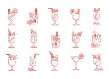 Line art, set of cocktails and drinks illustrations. royalty free stock photography