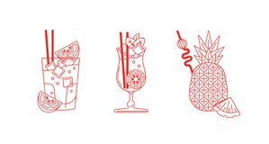 Line art, set of cocktails and drinks illustrations. stock photos