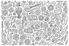 Line art set of hippie objects Stock Photos