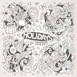 Line art set of holidays doodle designs Royalty Free Stock Image