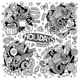 Line art set of holidays doodle designs. Line art vector hand drawn Doodle cartoon set of holidays objects and symbols Stock Photos