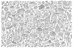 Line art set of holidays object Royalty Free Stock Photography
