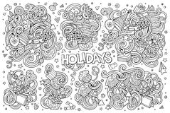 Line art set of holidays object Stock Photos