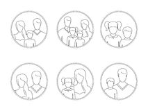 Line-art, silhouettes of people, parents and children, in the framework. Six examples of silhouettes of people, parents and children Royalty Free Stock Photo