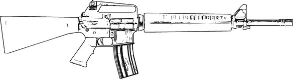 Line Art Sketch Of An M16 Rifle /eps Royalty Free Stock Photo