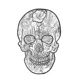 Line art and tattoo of skull Royalty Free Stock Image