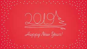2019 line art text - New Year Card. On red background stock illustration