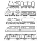 Line art train icons Stock Photos
