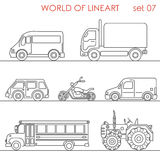 Line art transport aerial road moto tractor school bus lineart Royalty Free Stock Image