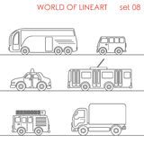 Line art transport aerial road trolley bus graphical lineart set Royalty Free Stock Images